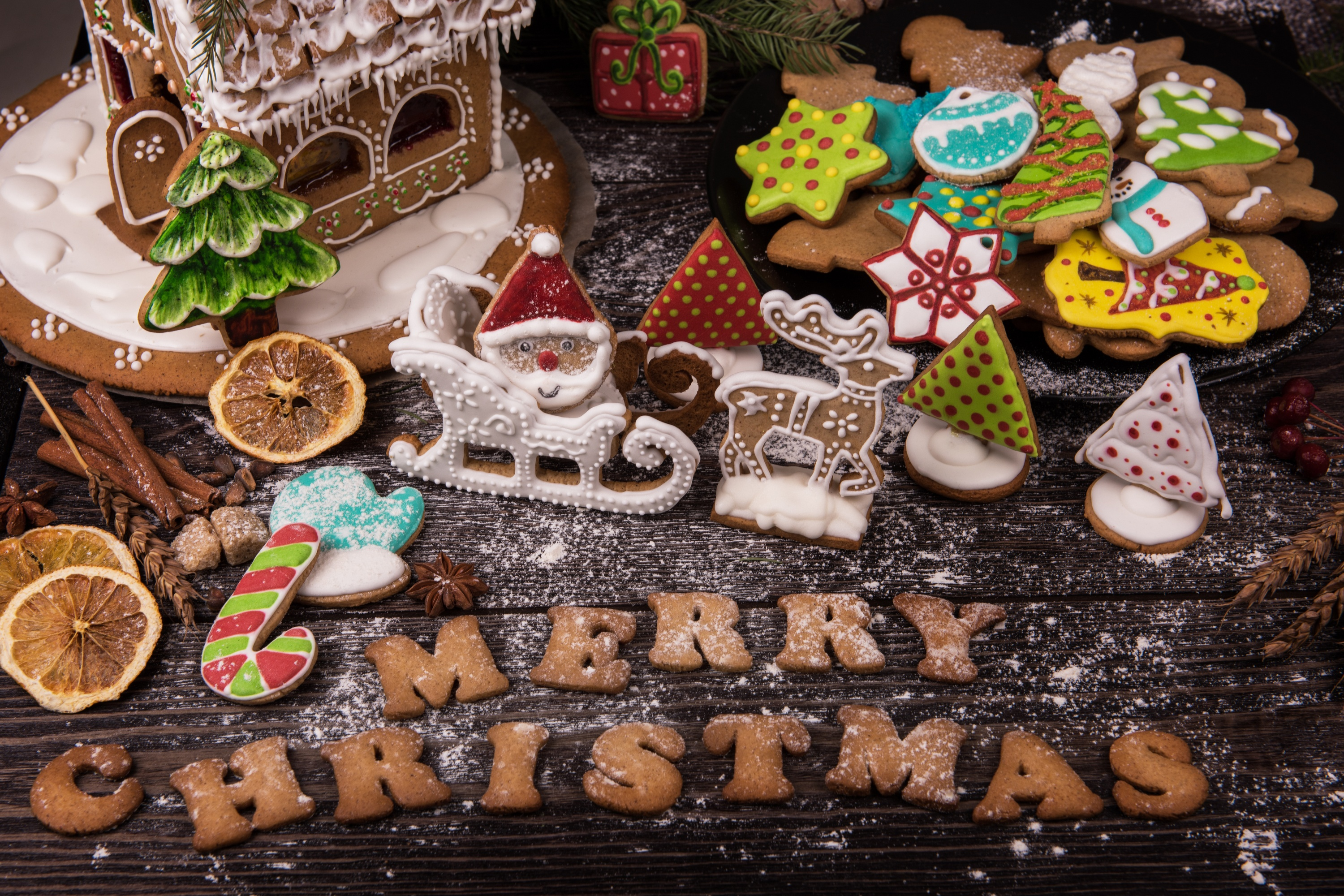 Wallpaper Treats for the holiday and cookies with the letters Merry Christmas