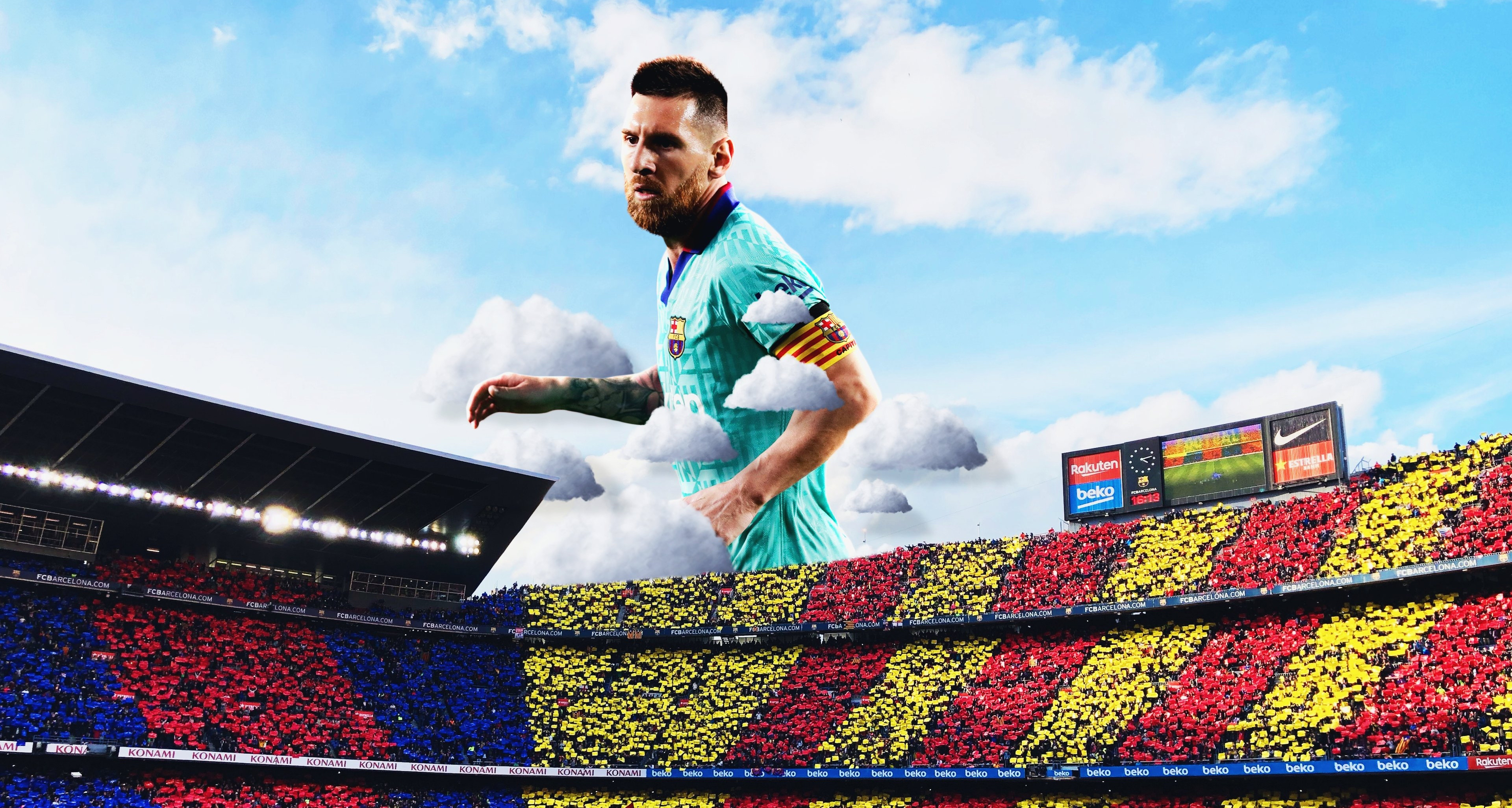 Wallpaper Soccer player Lionel Messi in the sky above a football field