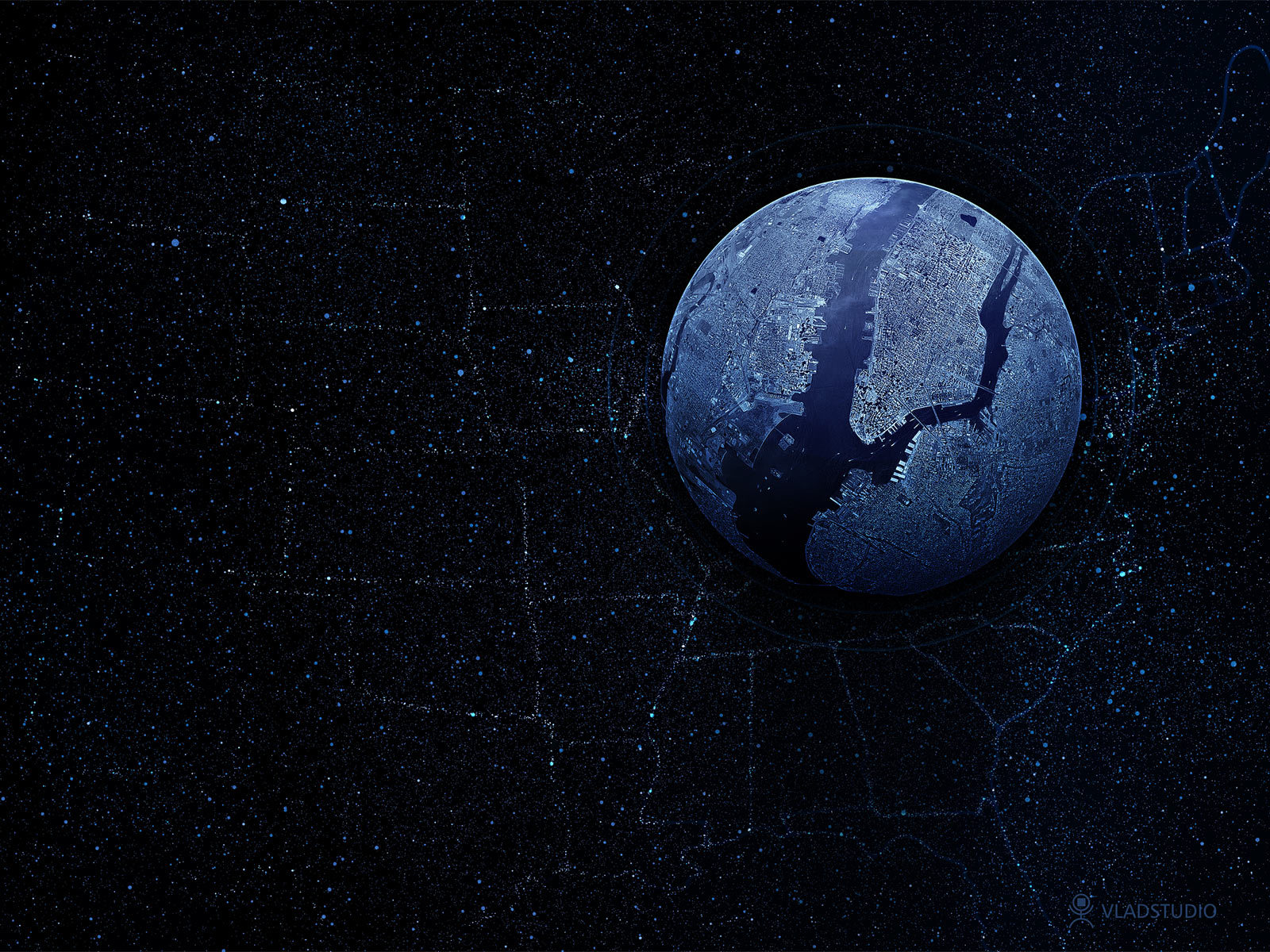 Wallpaper Black wallpaper with the planet New York