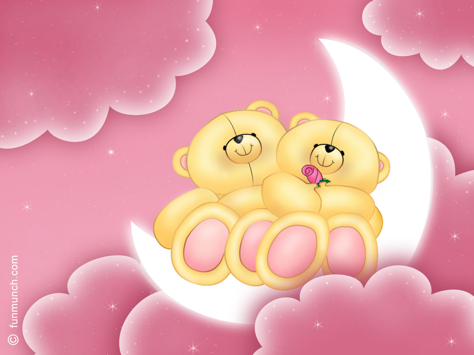 Wallpaper Bears on the moon the Valentine`s day