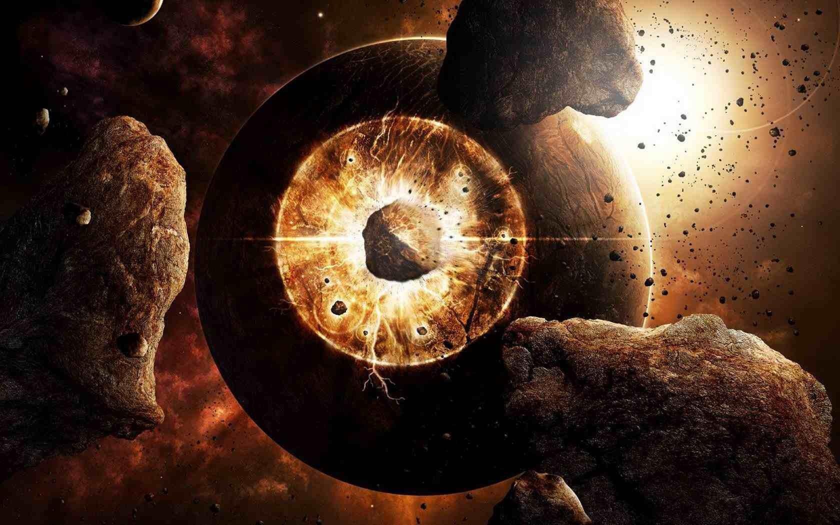 Обои огненный хвост, астероид, планеты. Космос foto 7