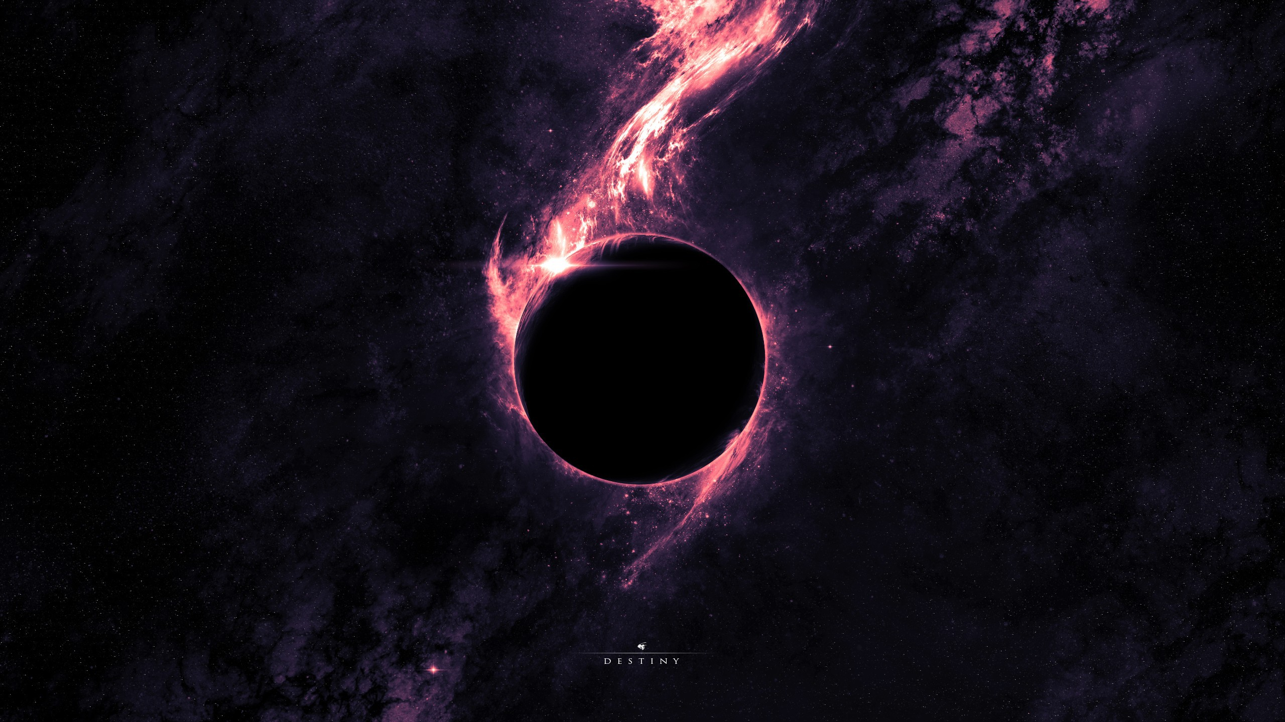 Wallpaper Black planet covered the sun