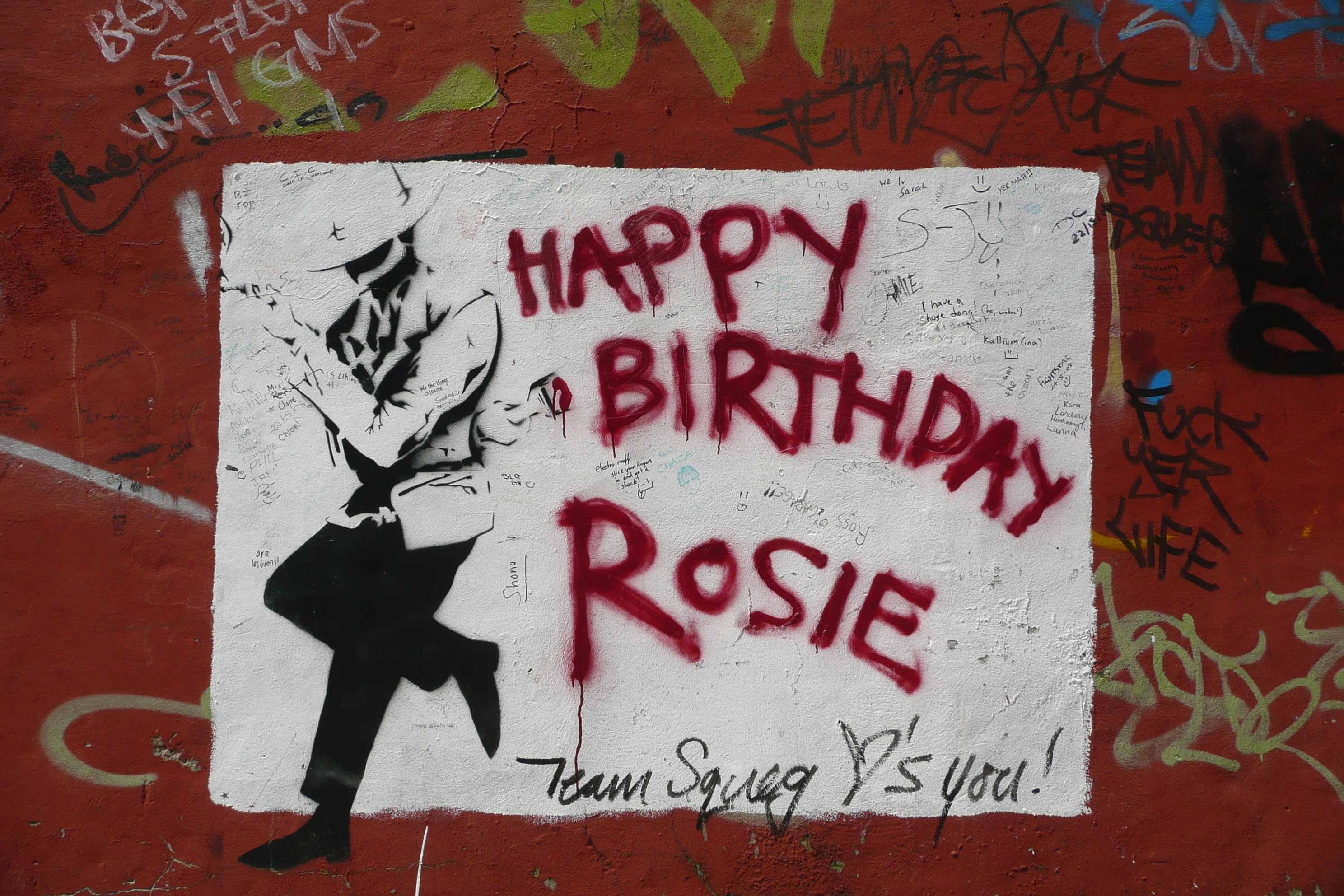 Wallpaper Graffiti, happy birthday, Rosie