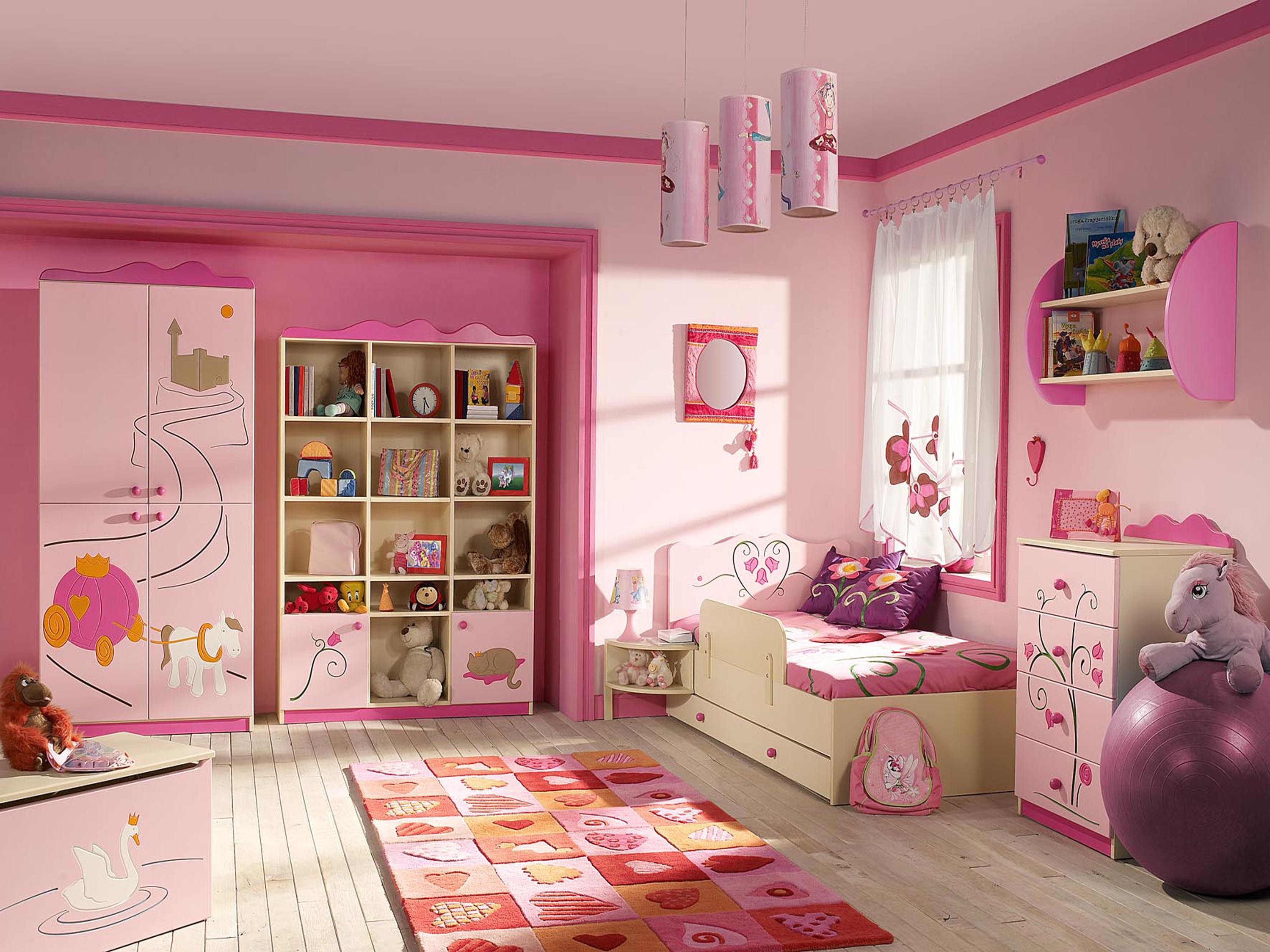 Wallpaper Kids for girls in pink style