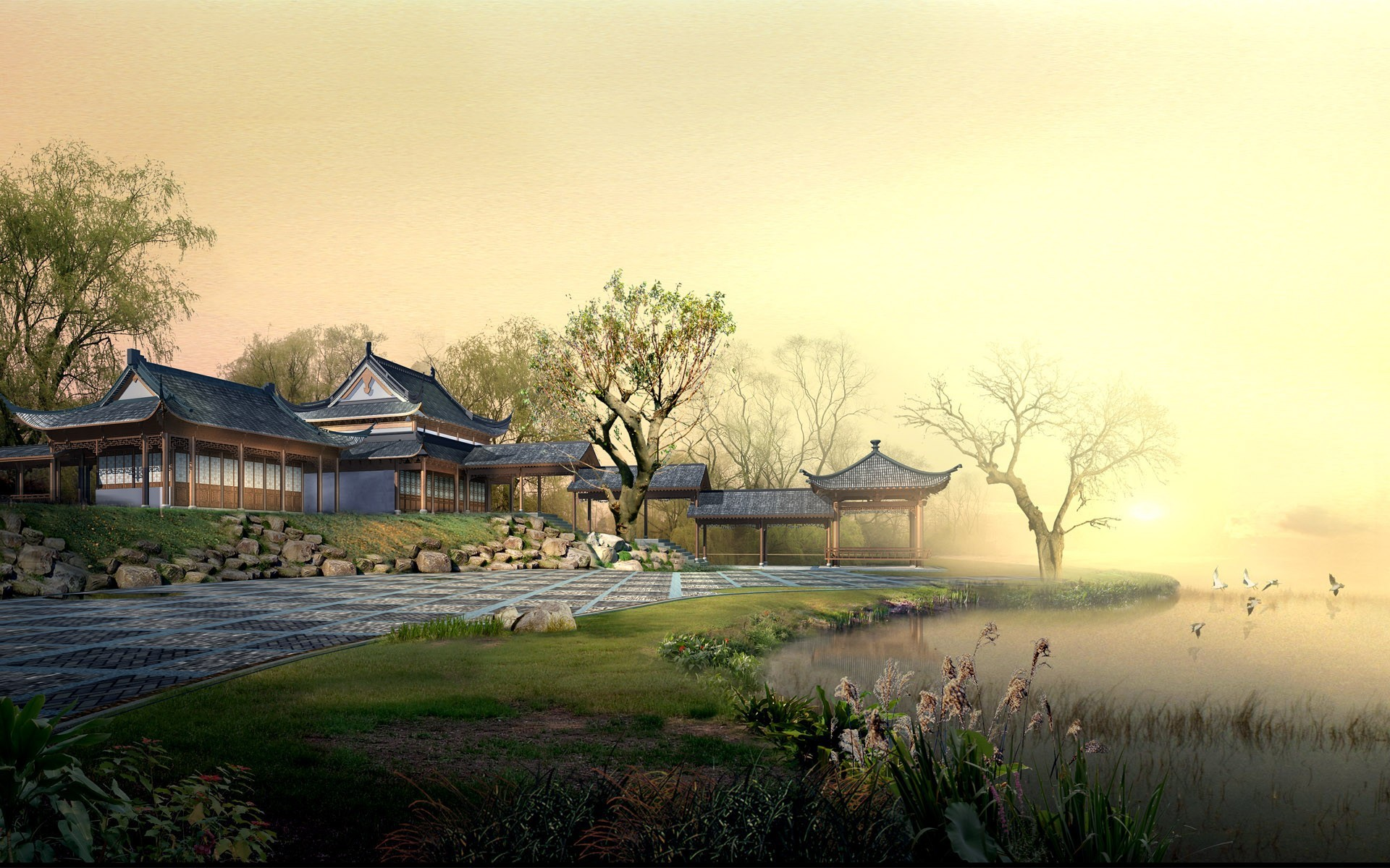 китайский пейзаж обои на рабочий стол № 501924 бесплатно