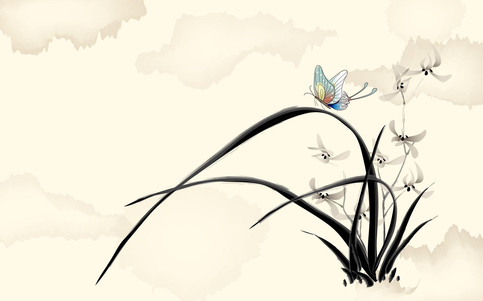 Обои для рабочего стола нарисованные бабочки
