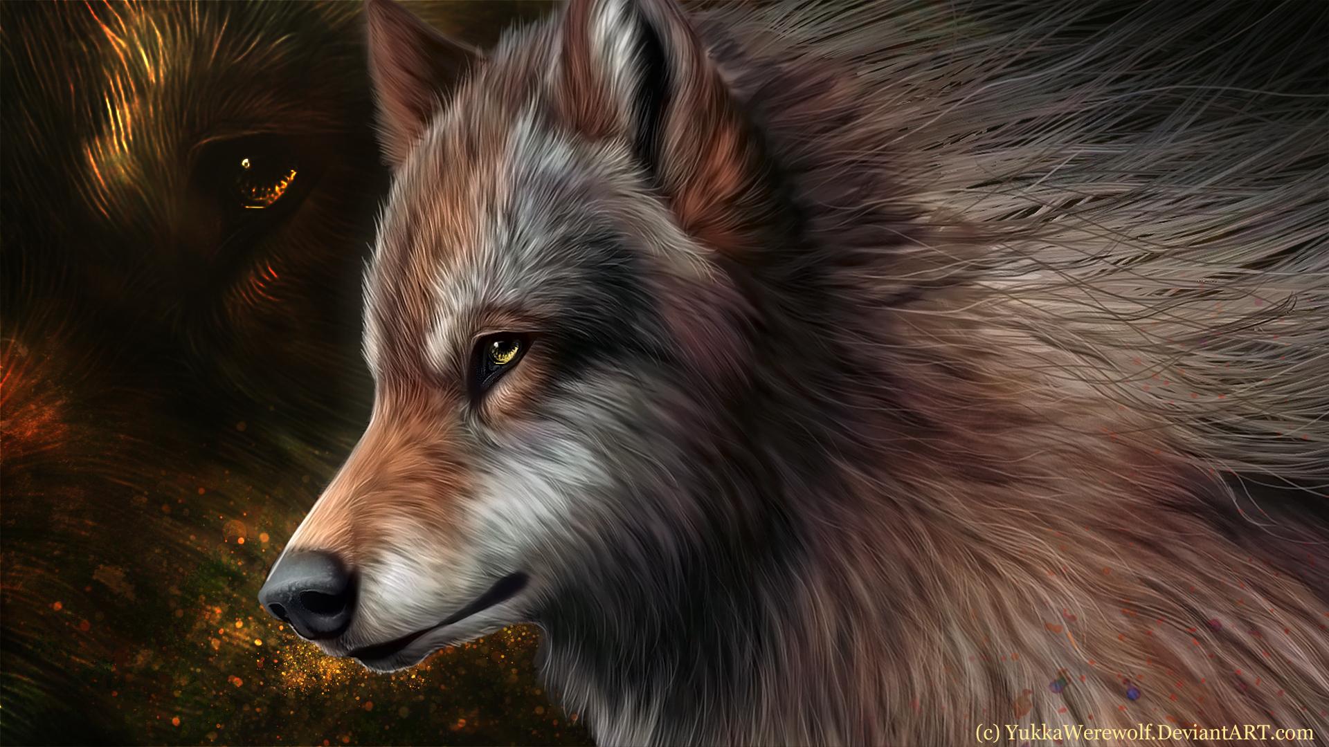 рисованные обои для рабочего стола волки № 138298 загрузить