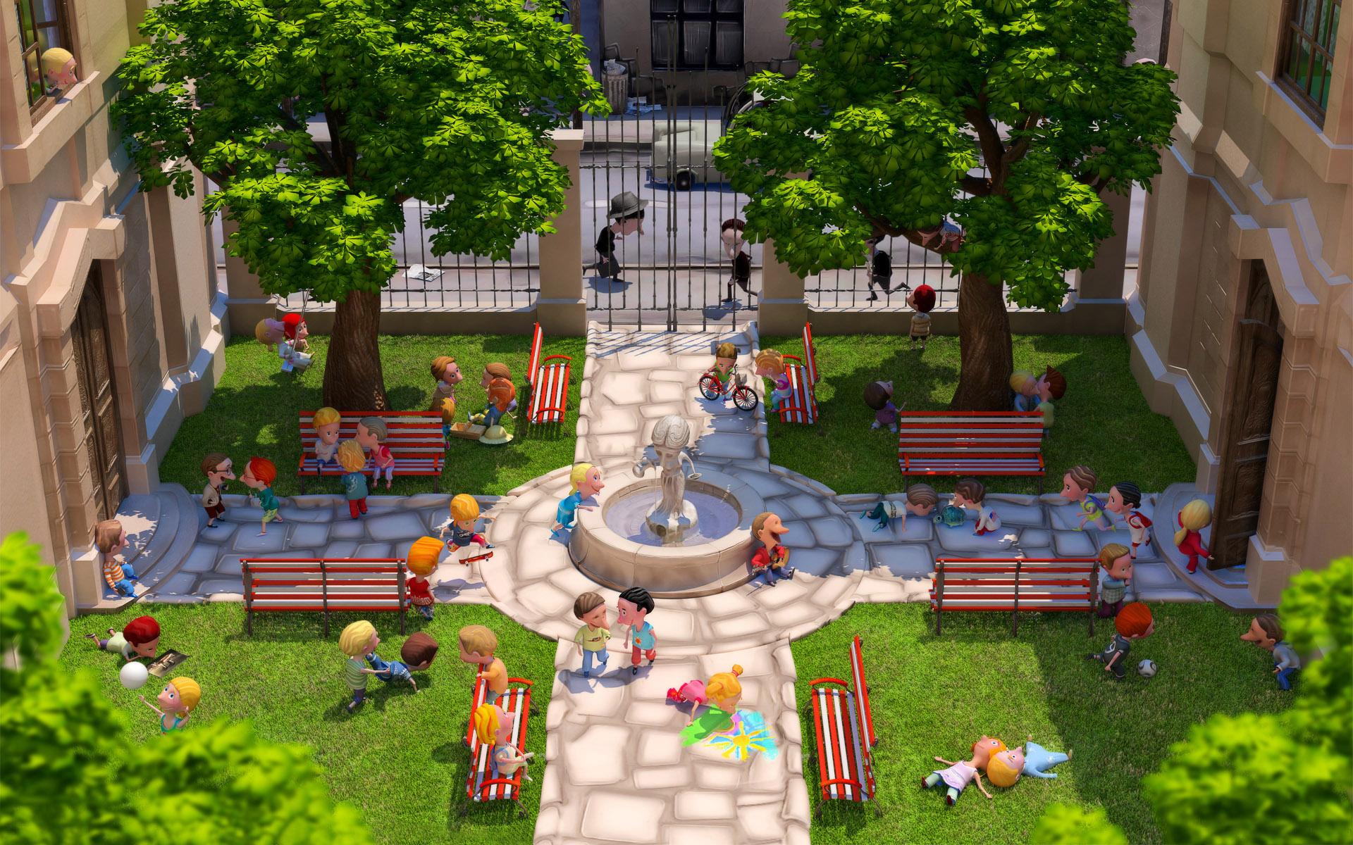 Рисунок красивого двора