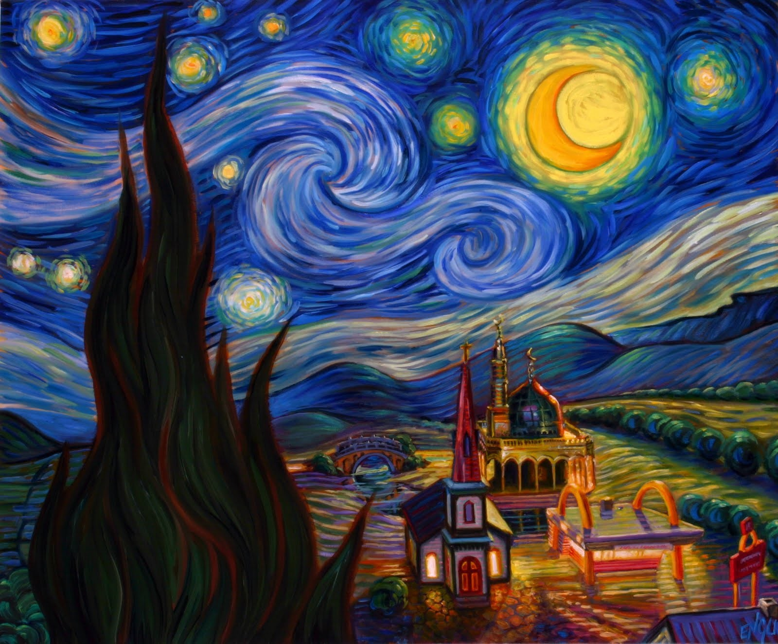 van gogh s starry night and salvador An acrylic copy painting on canvas after the original painting by famed post-impressionist vincent van gogh (1853 – 1890) titled starry night salvador dali.