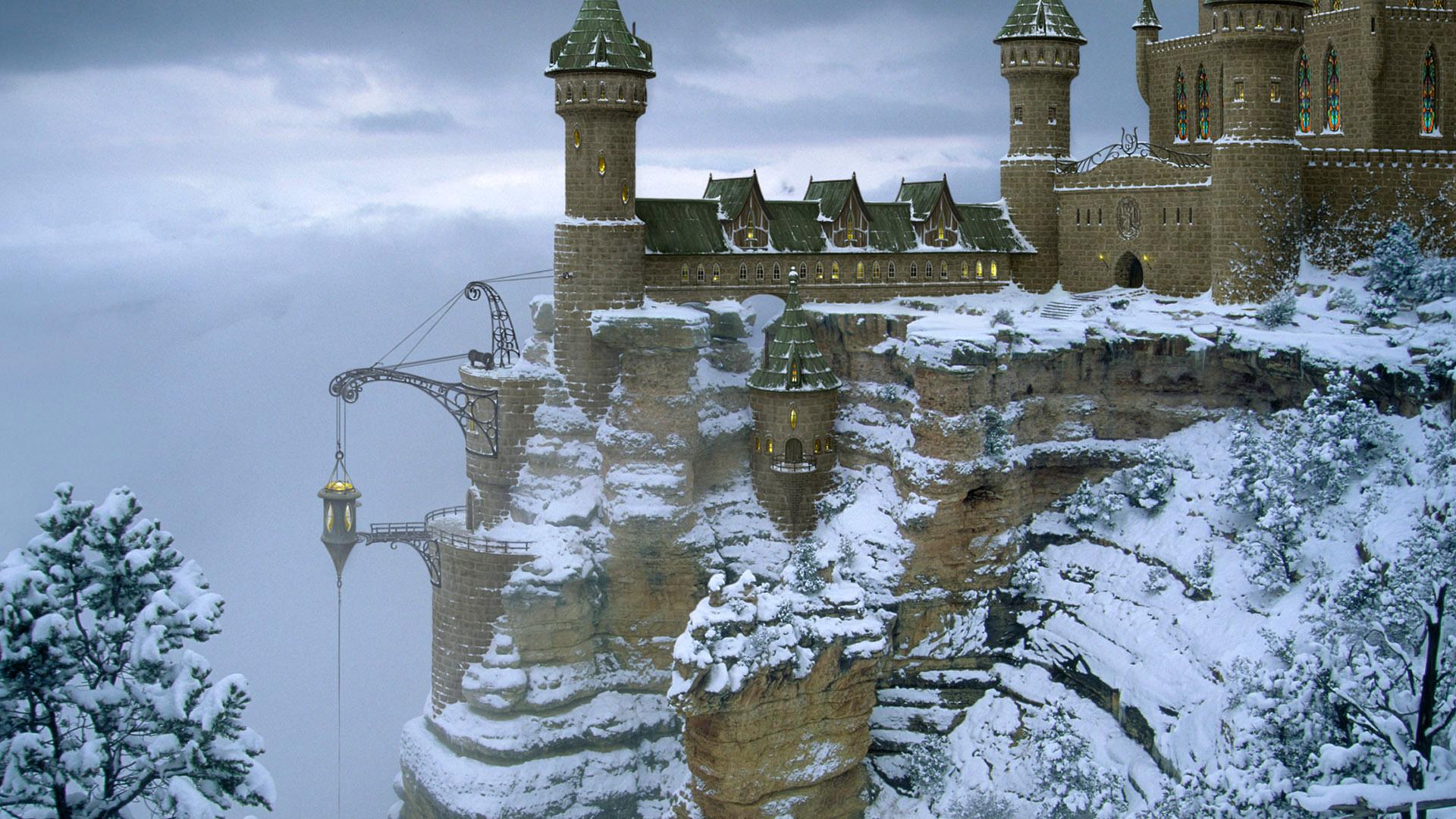 обои для рабочего стола зимний замок № 464910 бесплатно
