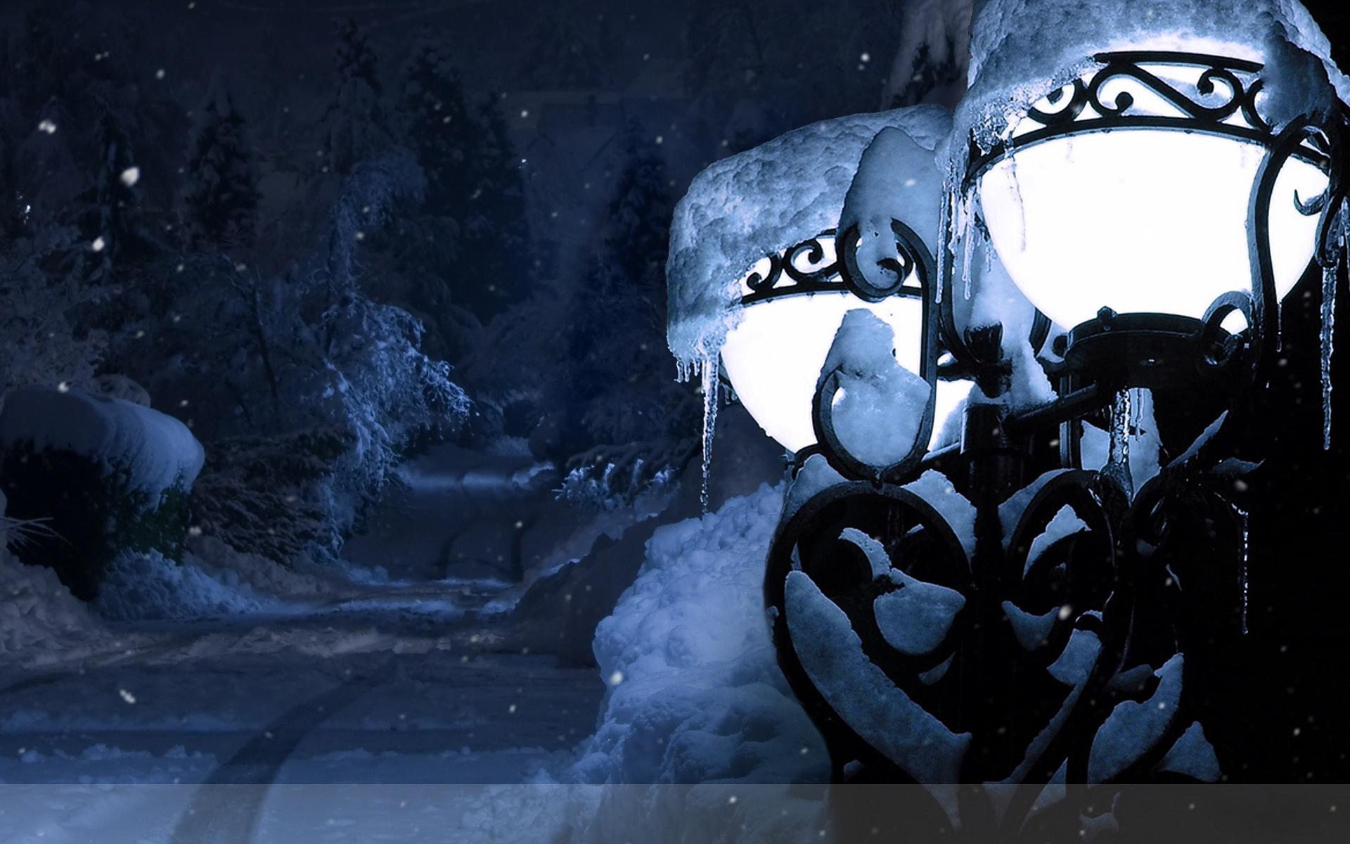 Зима фонарь обои на рабочий стол