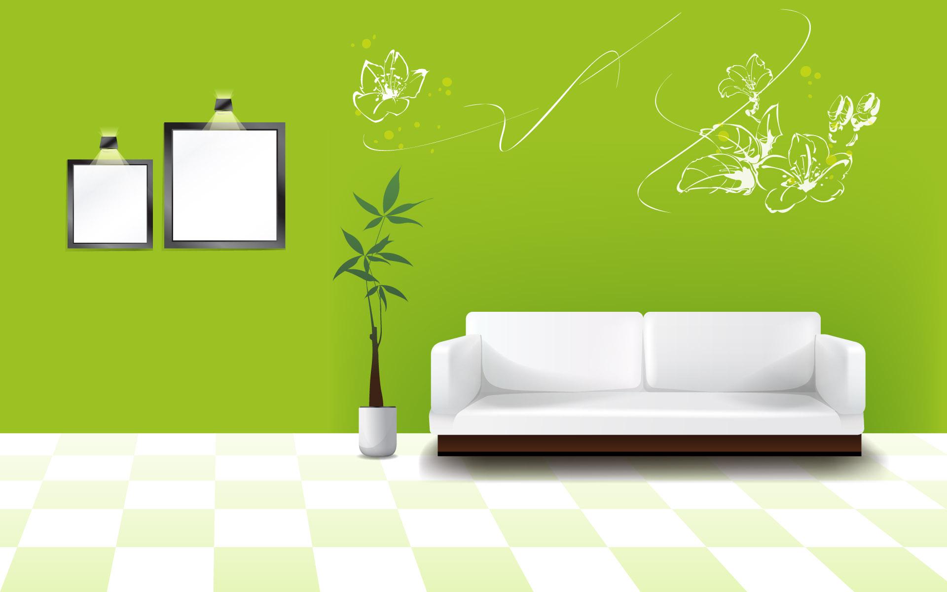 Рисунки на салатовом фоне на стене