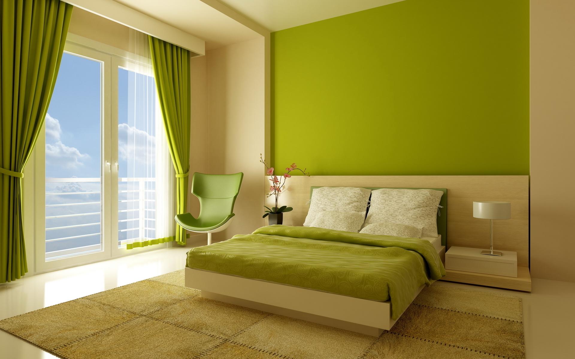 Дизайн комнаты салатового цвета