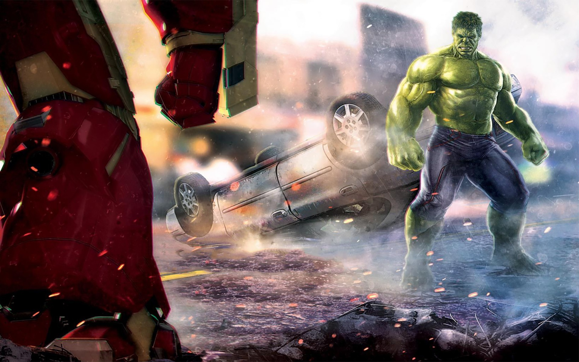 Wallpaper Hulk And Iron Man The Avengers Age Of Ultron
