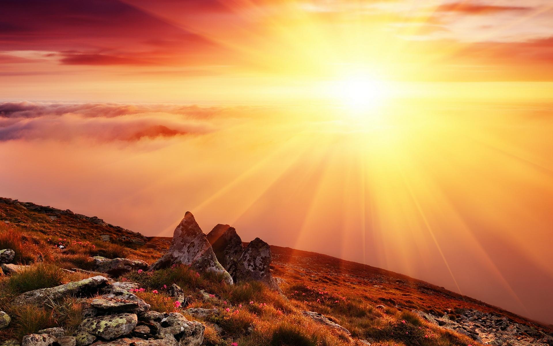 Рассветы и закаты горы лучи света деревья туман облака солнце природа фото обои картинки скачать на рабочий