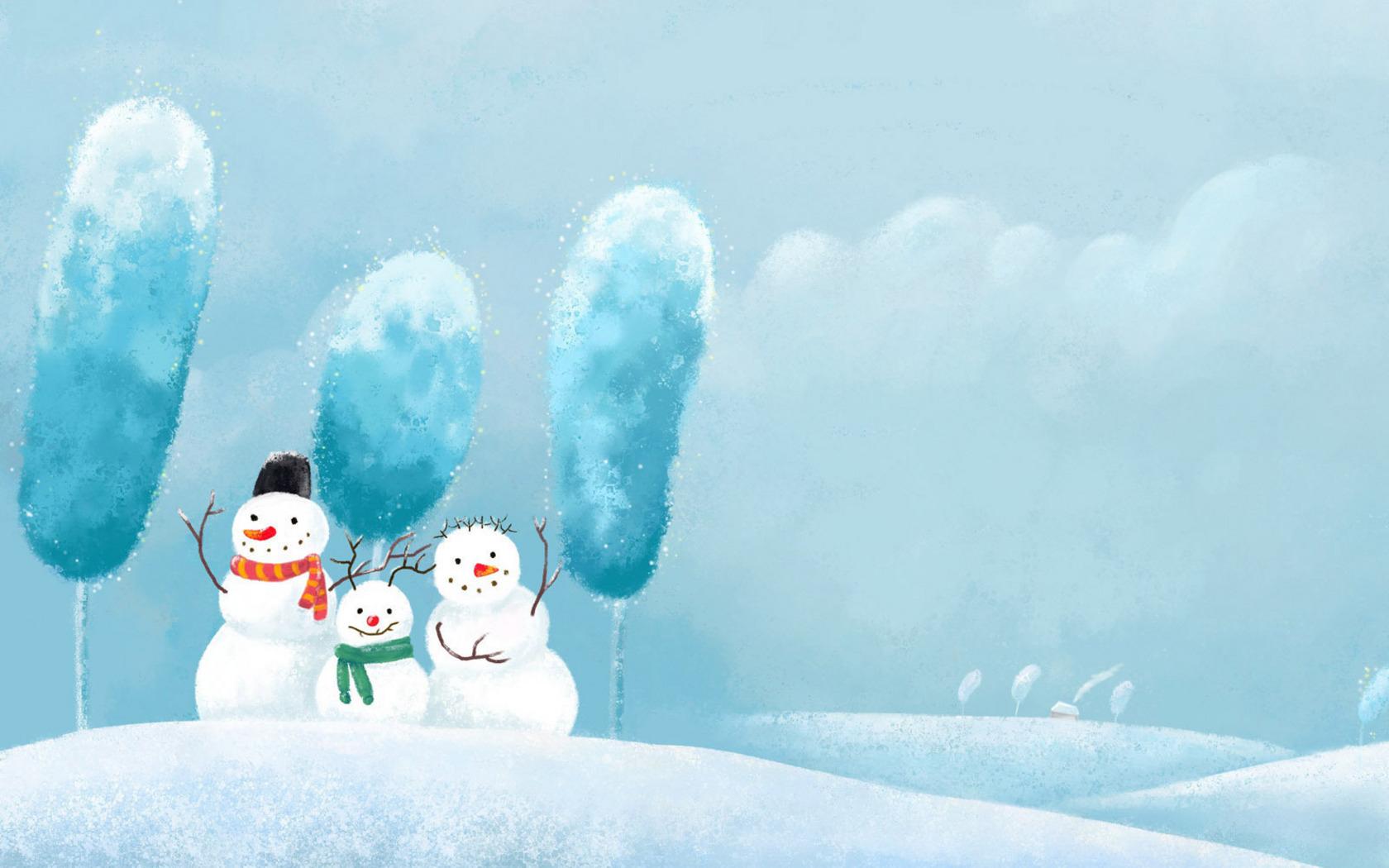 нарисованная зима обои на рабочий стол № 1239663 загрузить