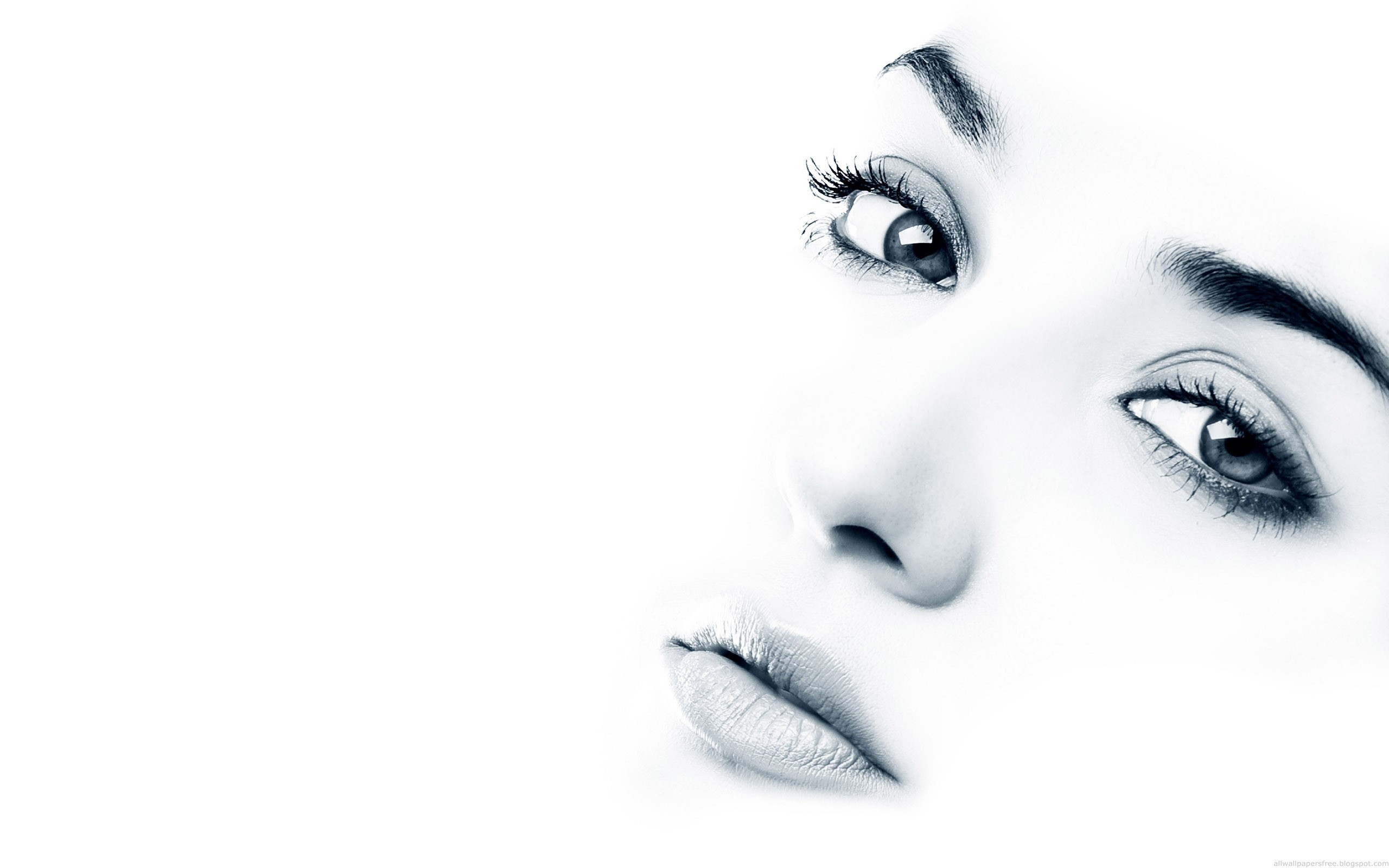 Wallpaper 	 Eyes and lips on white background