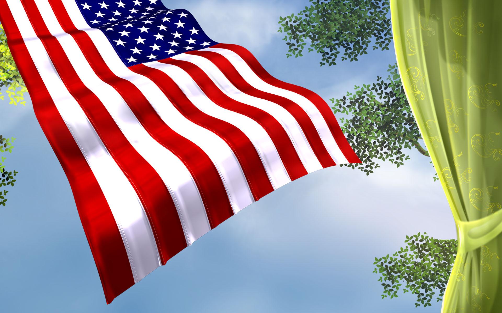 обои для рабочего стола развивающиеся флаг № 620475  скачать
